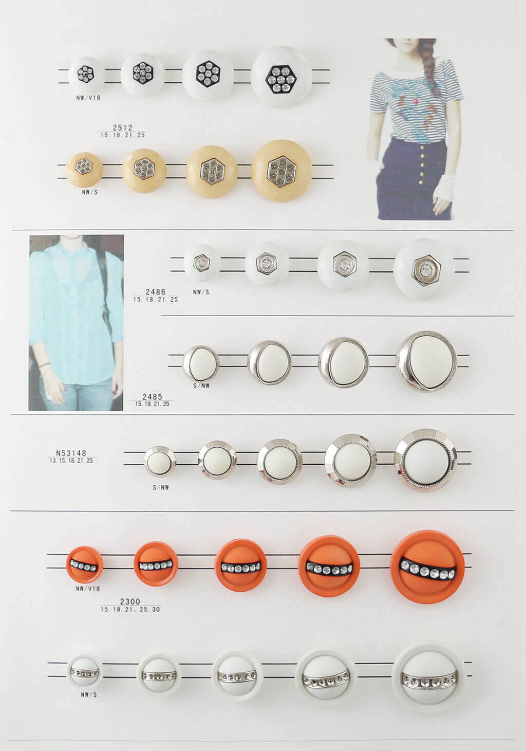 fashion buttons catalogue, combined buttons catalogue