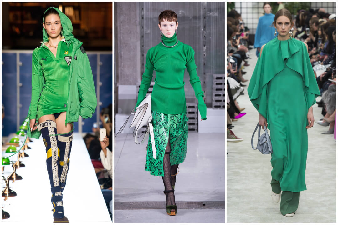 2018 color trend green-kelly green runway