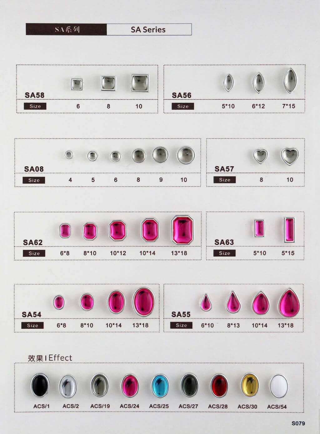 S079-stone in sew on setting catalogue transparent