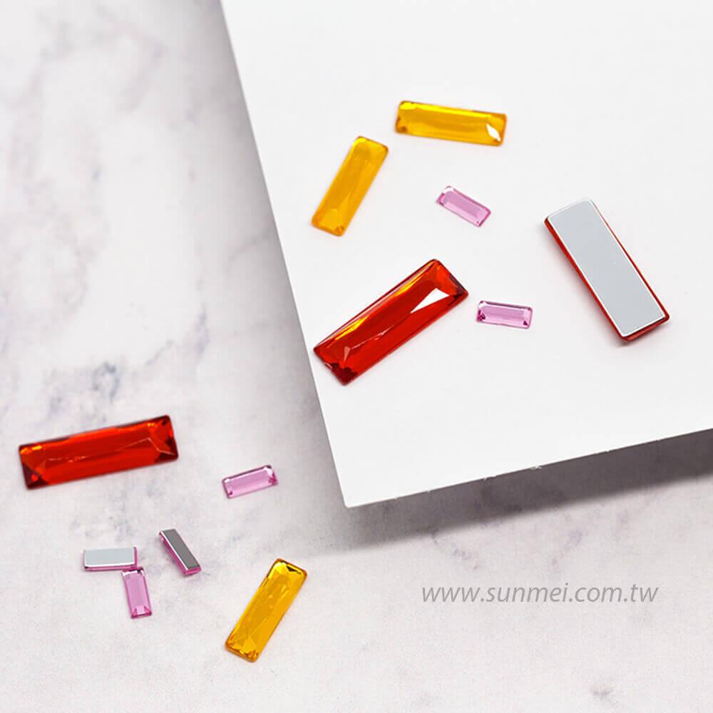 acrylic gems flat back baguette