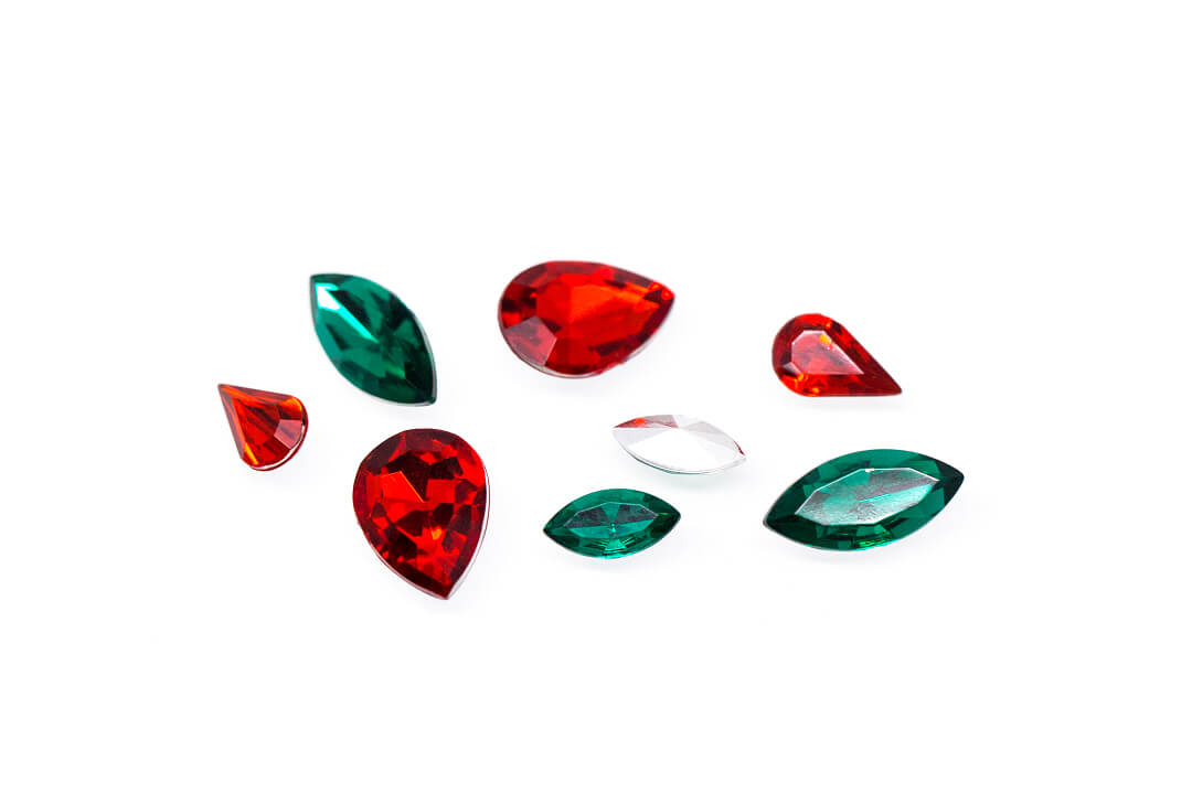 green and red rhinestones for jewelry-1