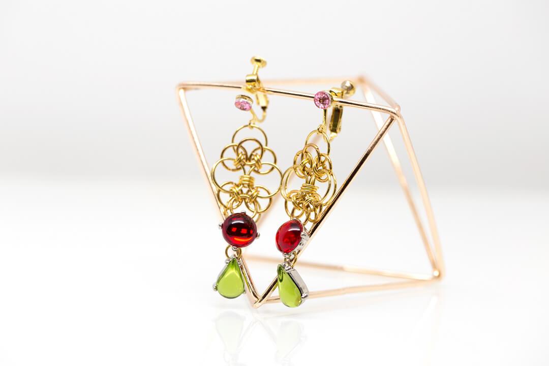 green and red rhinestones jewelry-3