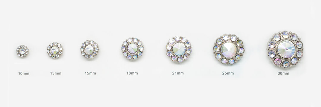 rhinestone buttons-3-button sizes
