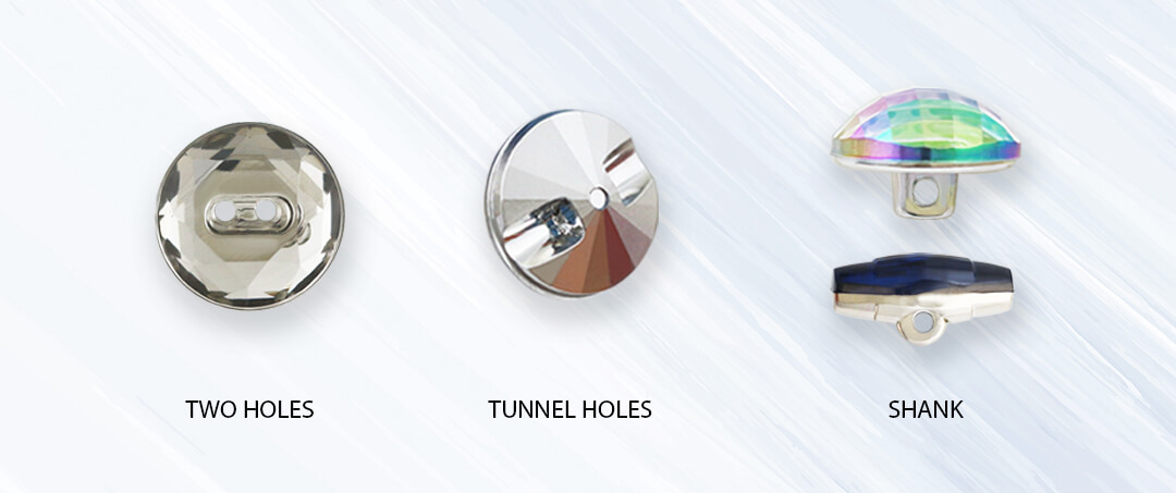 acrylic fancy buttons-different fixures-shank two holes and tunnel holes