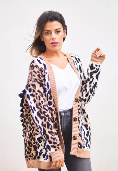leopard cardigan with buttons up