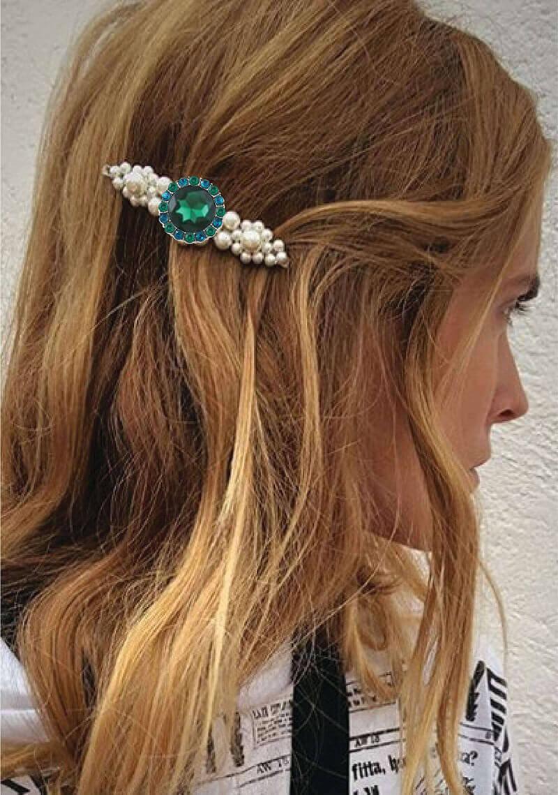 rhinestone buttons hair clip